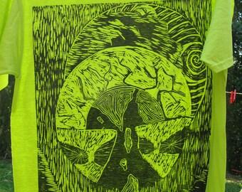 Green printed black t-shirt woodblock print