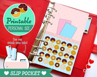 Personal Size Slip Pocket Cute Kawaii Doughnuts DIY for Filofax Organizer Planner Printable PDF Instant Download