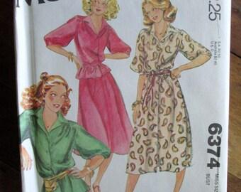 shirtdress top skirt set, tea dress button up blouse bias cut flowy skirt, vintage 70s sewing pattern uncut McCall's 6374, size 12 bust 34,