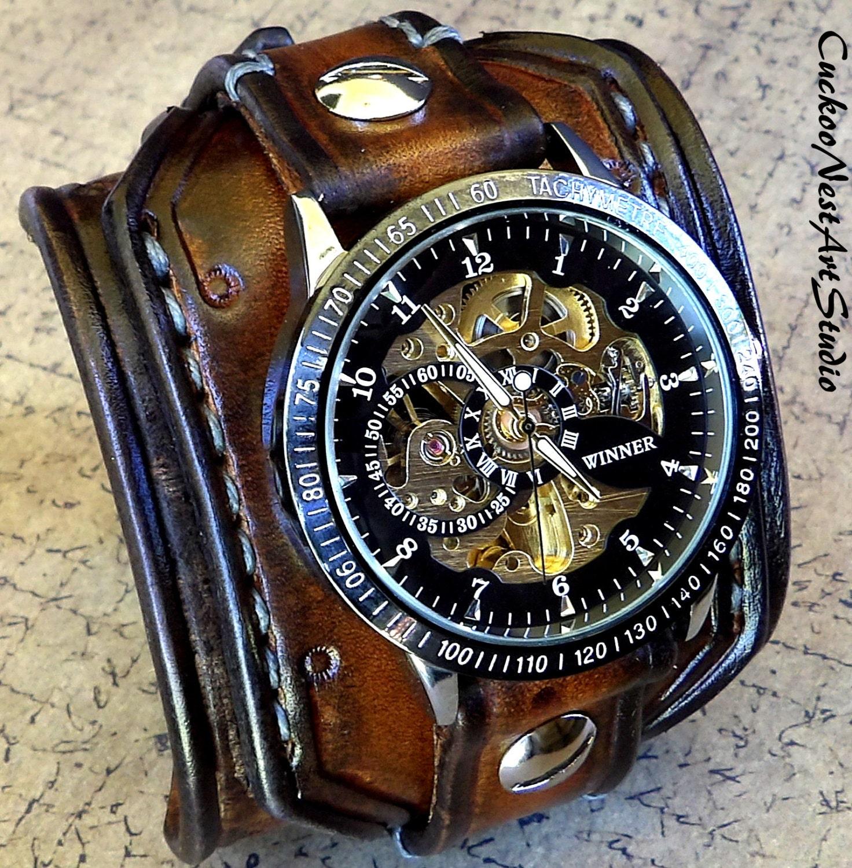 Steampunk Wrist Watch Leather Watch Skeleton watch Leather