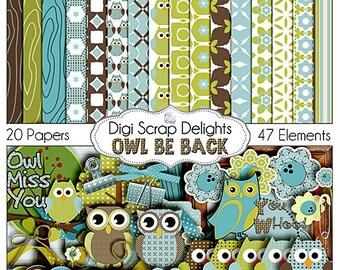 SALE Owl Digital Scrapbooking Kit - Blue, Green, Brown Owl Clip Art & Owls Woodland for Birthday  Invites, Instant Download