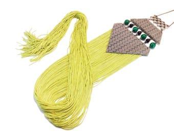 Extra Long Fringe Necklace, Statement Jewelry, Oversize Fringe Necklace, Statement Necklace, Tassel Necklace, Green necklace, Greenery