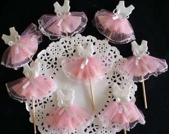 Ballet Birthday Party, Pink Tutus for Cupcake, Ballet Baby Shower, Ballet Favor, Ballet Cupcake Topper, Baby Shower Tutu,  12 Cupcake Topper