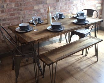 Handmade Bespoke Rustic Industrial Table with 2 Benches With Hairpin Legs