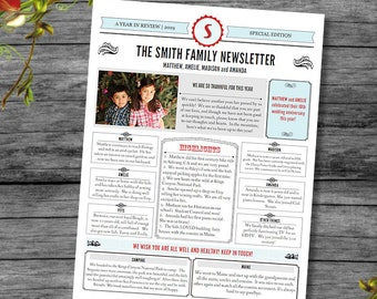 Family newsletter etsy newsletter template year in review template in pdf for print special edition layout 1 with 1 photo entry adobe reader required maxwellsz