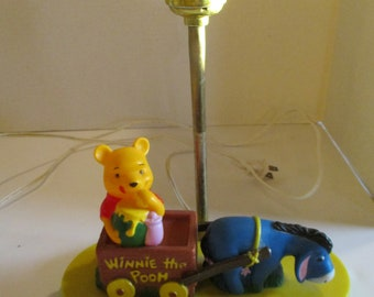 Vintage Winnie the Pooh and Eeyore Table Lamp, Disney Night Light, Winnie the Pooh In A Wagon Pulled By Eeyore Light, Winnie Eating Honey