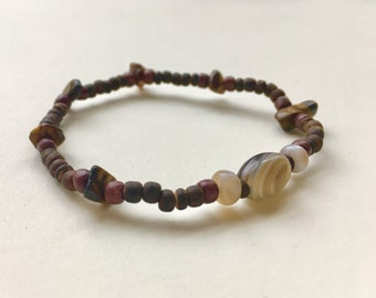 Beaded Bracelet - Tiger Eye, Onyx, Agate - Stackable Stretch Bracelet
