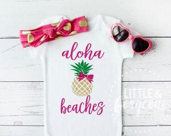 Baby Girl Shirt, Baby Girl Onesie, ALOHA BEACHES, Baby Girl Shirt, Baby Shower Gift, Summer Outfit, Glitter Shirt, Glitter Onesie