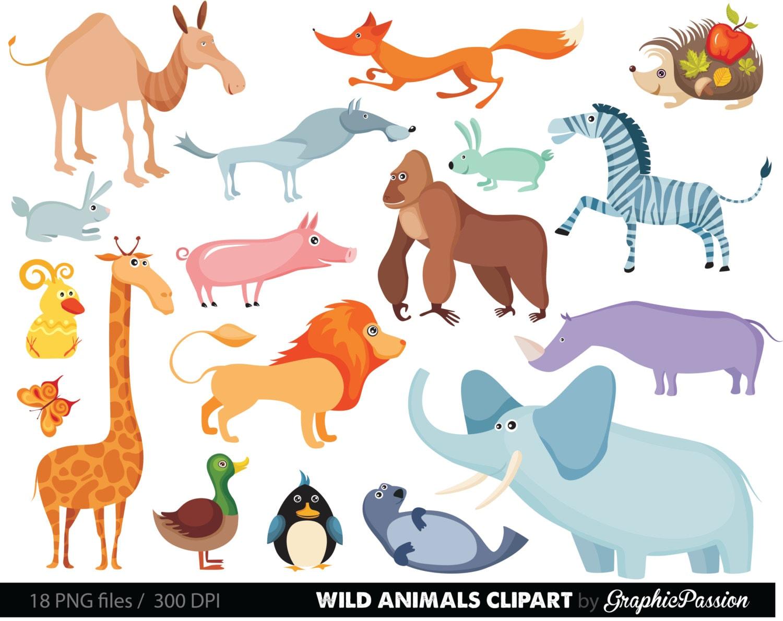 Jungle Animals Baby Digital Clipart / Safari Animals Clip art