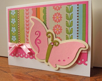 Pink Butterfly Handmade Greeting Card - For Girl or Baby - Birthday or Just Because