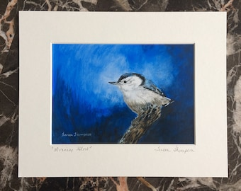 Nuthatch fine art print, cute bird art, blue bird art, blue art, cute forest critter, woodland theme art, bird fine art, bird wall art
