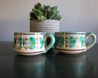 Vintage Art Pottery Mugs / Hand Painted Spanish Earthenware Cups / Blue Green Leaves Orange Berries / Set of Two