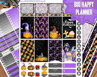 Halloween Planner Stickers Printable, Big Happy Planner Stickers, Weekly Planner Kit, Planner Stickers, Big MAMBI Planner Stickers, Digital