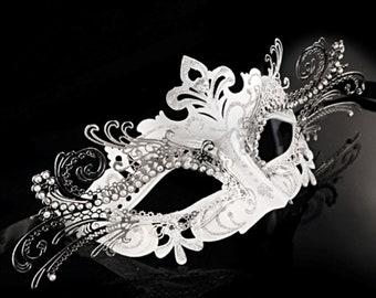 Silver 3D Venetian Masquerade Mask with Diamonds - Masquerade Ball Mask - Costume, Cosplay, Greek Goddess Costume