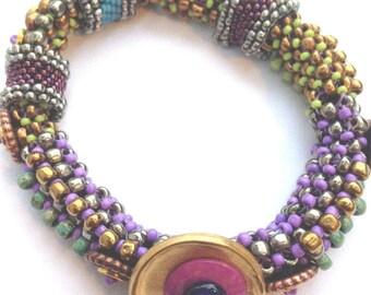 Multi-color Flexible Beadwoven Bangle Bracelet