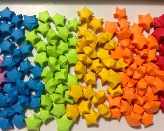 100 rainbow paper stars