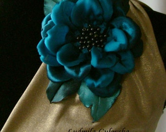 Handmade sea blue satin flower brooch, flower pin