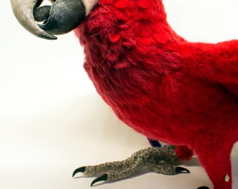 Made to Order Needle Felted Parrot: Custom needle felted animal sculpture