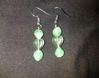 Green Glass Heart Earrings