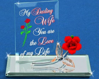 Glass Baron My Darling Wife Rose and Plaque