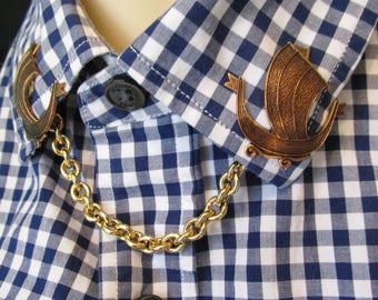 Sail boats Collar pins Sweater clips Cardigan clips Collar chains sweater guard Asian ship tie tacks Horses scatter pins MyElegantThings