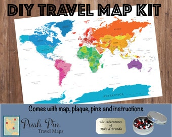 """DIY Colorful World Push Pin Travel Map Kit with 100 Pins - 24"""" x 36"""" - Personalized map to track your travels  - Push Pin Travel Map"""