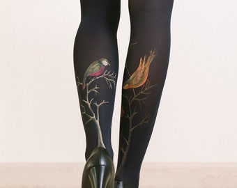 Unique tights for women with hand painted motives - Birds and berries