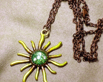 BELISAMA -Unique OOAK art necklace -SUMMER_BRIGHT Goddess of Sun and Fire Brightest Sunflower - signed and dated - handmade wearable art