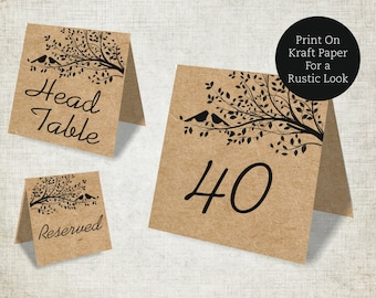 Wedding Table Numbers Printable Template, Rustic Birdie Wedding Table Numbers 1-40, Reserved and Head Table Signs Included, Tent Style