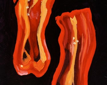 Still life painting- Groovy Red Pepper - 5x7 fruit oil painting by Sharon Schock