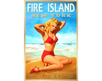 Fire Island New York Travel Poster South Shore Long Island Pin Up Art Print 272
