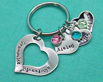 Personalized Keychain - Heart Keychain - Birthstones - Grandma - Kids Names - Custom Key chain - Hand Stamped - Personalized Key chain