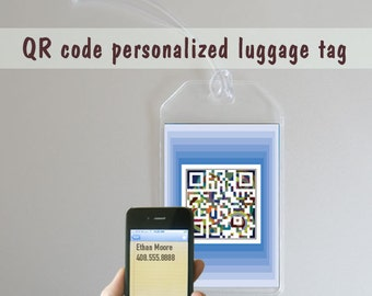 Custom personalized luggage tags - name tags - blue or green - QR code square art - set of two -  travel gift, outdoors gift, Holiday gifts