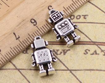 "set of 4 charms ""robots"" Silver Tibetan 17 x 12 mm"