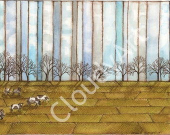 Cows in Pasture Watercolor and Ink - Giclee Print