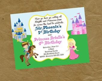 Tapfere Ritter und Prinzessin Geburtstag Party-Einladung - digitale personalisierte Datei zum ausdrucken