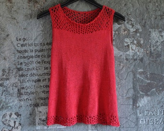 Red top with hole pattern, size s, hand knitted, cotton, viscose, summer shirt, sleeveless