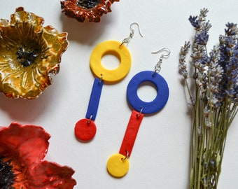 Primary Geometric Circle Clay Statement Earrings