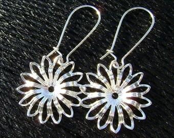 Filigree Flower Kidney Hook Silver Earrings