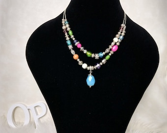 Ladies beaded necklace small multicoloured small chain party jewellery gift