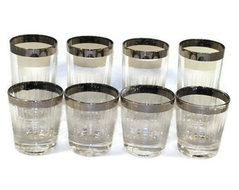 Classic Mid Century Barware Cut Glass Dorothy Thorpe Style Silver Rim Glasses -- Highball and Rocks Glasses, Set of 8 (4 of Each)