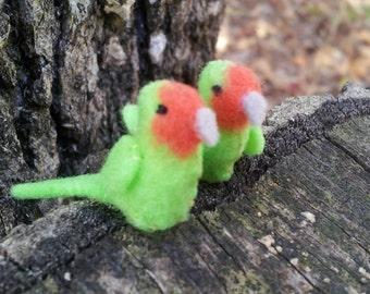 Pair Of Tiny Love Birds -- miniature felt plush exotic dollhouse pets diorama terrarium bonsai tree decorations wedding favors charms