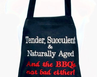 Funny Apron, Tender, Succulent, Naturally Aged, Chef BBQ, Man Grill Apron, Boyfriend, Hubby, Boss, No Shipping Fee, Ships TODAY, AGFT 298