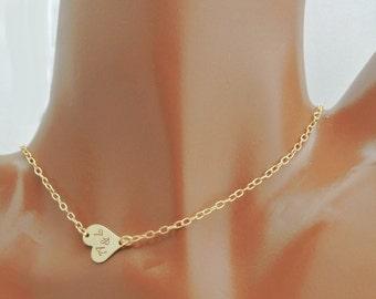 Gold Filled Sideways Heart Necklace, Gold Heart Necklace, Personalized Necklace, Engraved Heart Necklace, Petite Heart Necklace