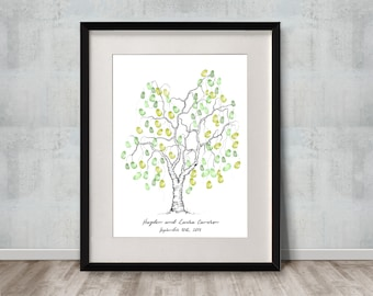 Weeping Willow Tree Guest Book / Tree Guest Book / Wedding Guest Book /  Thumbprint Guest