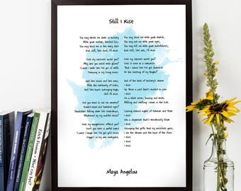 Maya Angelou, Maya Angelou Quote, Still I Rise, Angelou Poetry, Watercolor Quote Poster, Wall ar, Inspirational quote,