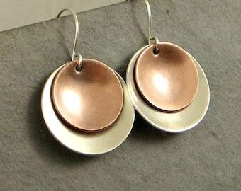 Mixed Metal Disc Earrings Sterling Silver Copper Earrings Disc Earrings Eco Friendly Jewelry Gifts for Her
