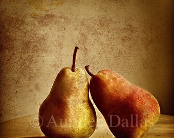 Pears Photograph Still Life Photo Two Pears Fine Art Photo Lean on Me Inspirational