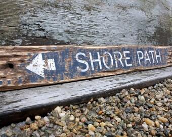 Shore Path Beach Sign Coastal Decor Nautical Sign Beach Decor Rustic Weathered Nautical Decor Bar Harbor Maine Acadia