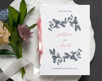 Botanical Calligraphy Wedding Program / 'Vintage Rose' Pocket-sized Order of Service Mass Booklet / Blue Pink / Custom Colours / ONE SAMPLE